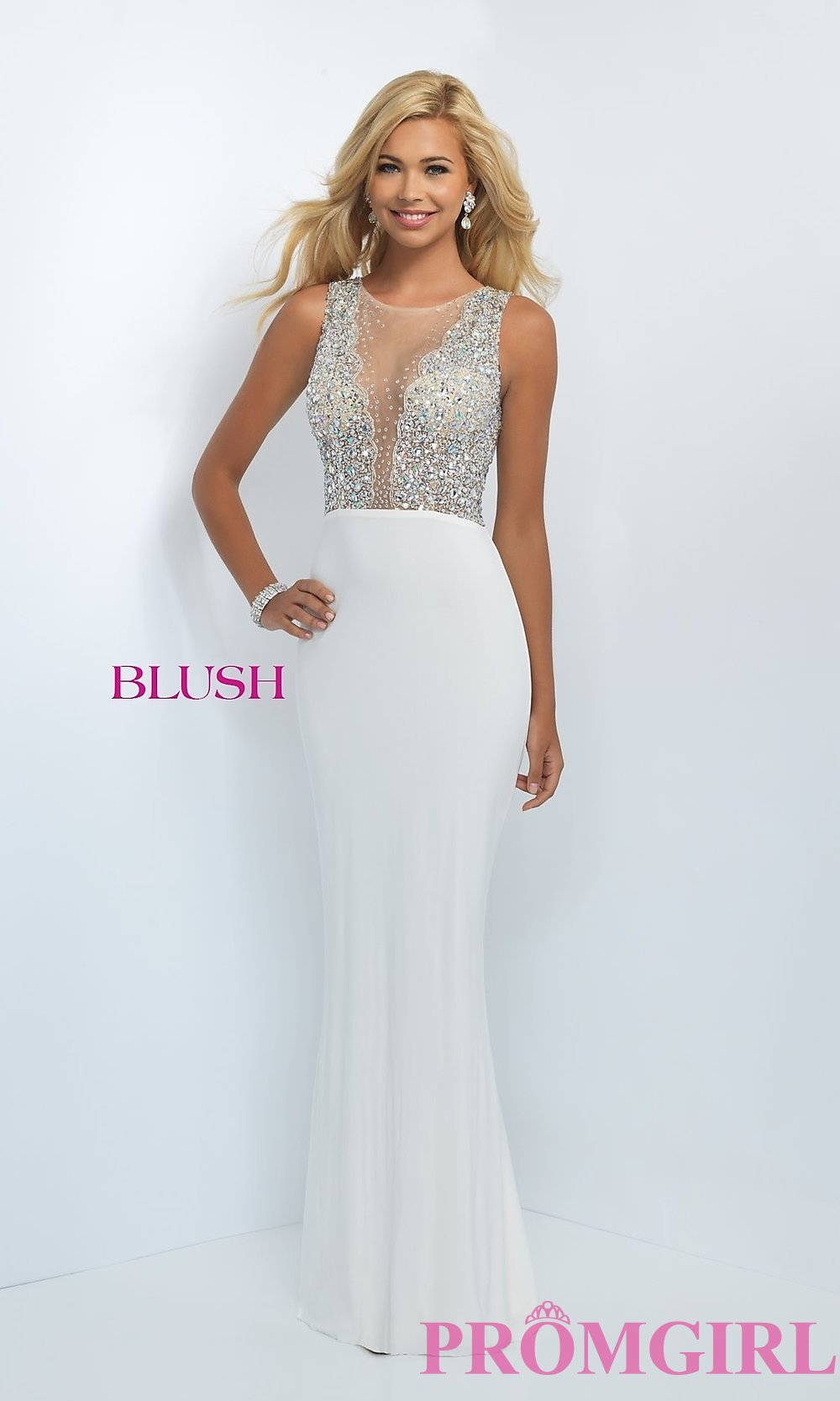 Long Sheer Beaded Illusion Top Prom Dress-PromGirl