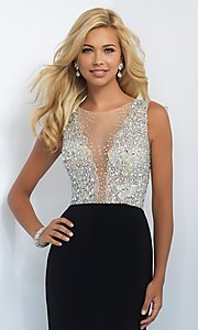 Image of long beaded illusion top long mini train dress  Style: BL-11009 Detail Image 3