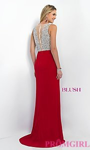Image of long beaded illusion top long mini train dress  Style: BL-11009 Back Image