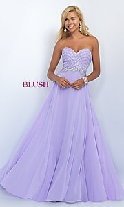 Image of long strapless sweetheart dress with beaded bodice. Style: BL-11070 Front Image