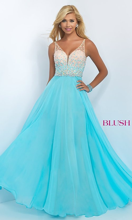 Image of Beaded Sweetheart Long Blush Prom Dress Style: BL-11087 Front Image
