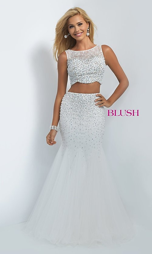 Image of long two-piece dress Style: BL-11003 Front Image