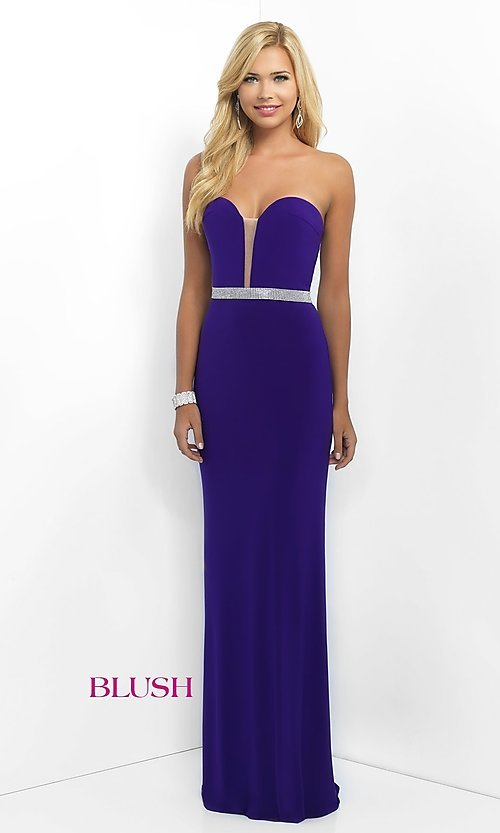 Image of floor length beaded waistband strapless sweetheart dress  Style: BL-11010 Detail Image 1