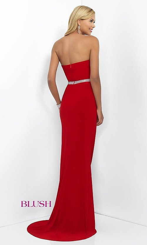 Image of floor length beaded waistband strapless sweetheart dress  Style: BL-11010 Back Image