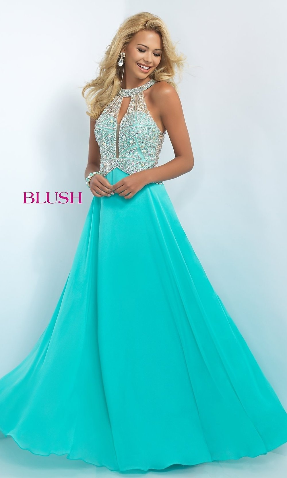Beaded Illusion Full Length Prom Dress - PromGirl