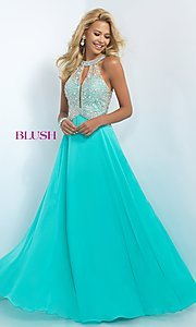 Image of floor length high neck illusion bodice chiffon dress Style: BL-11085 Front Image