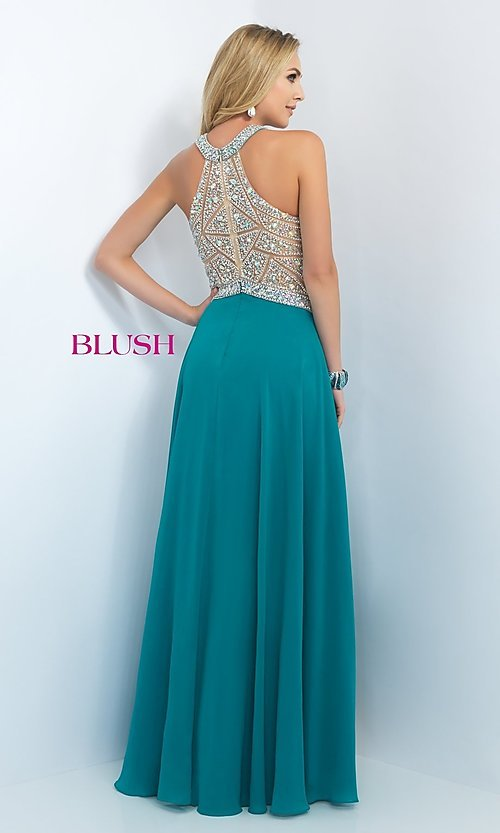 Image of floor length high neck illusion bodice chiffon dress Style: BL-11085 Back Image
