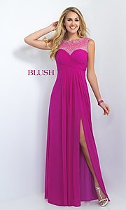 Image of long empire waist sleeveless beaded illusion back dress Style: BL-11096 Detail Image 1