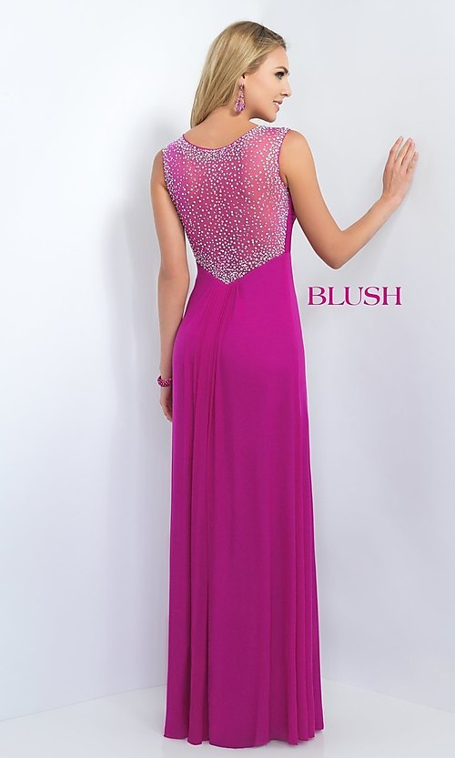 Image of long empire waist sleeveless beaded illusion back dress Style: BL-11096 Back Image