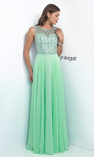 Long Beaded-Top Prom Dress from Intrigue by Blush