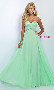 Long Chiffon Sweetheart Blush Prom Dress BL-11050