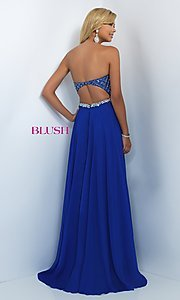 Image of long jeweled strapless sweetheart chiffon dress Style: BL-11050 Back Image
