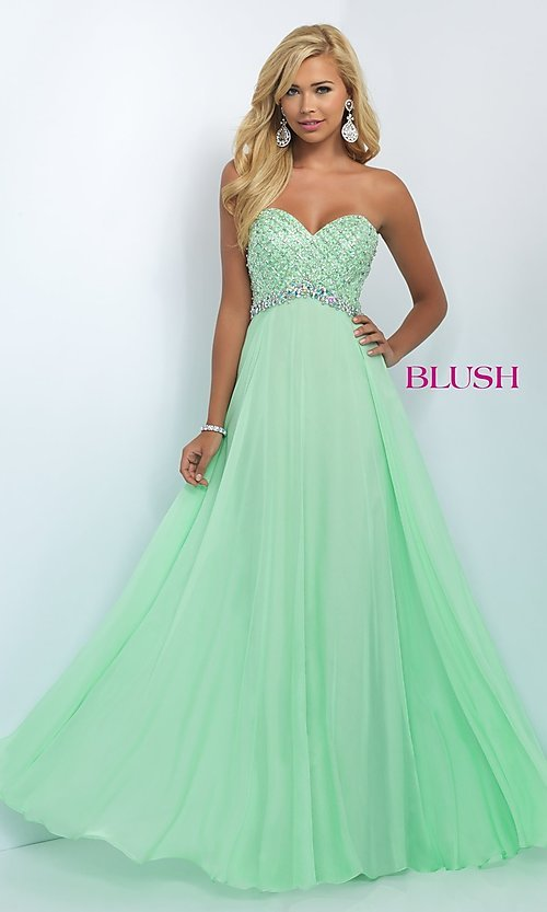 Image of long jeweled strapless sweetheart chiffon dress Style: BL-11050 Detail Image 1