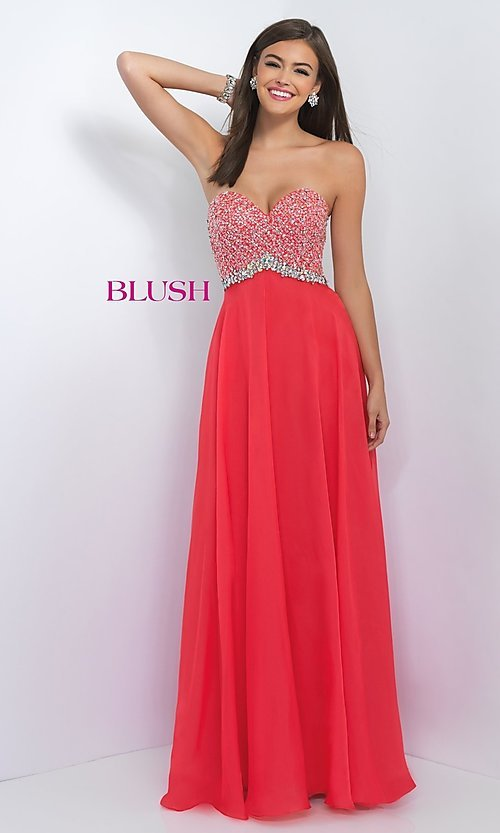 Image of long jeweled strapless sweetheart chiffon dress Style: BL-11050 Front Image