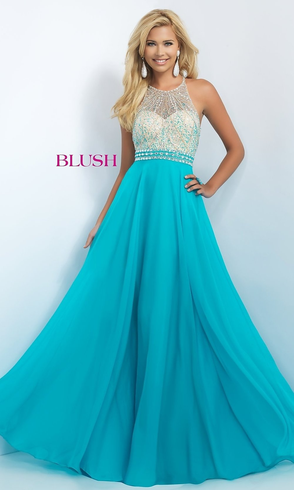 Beaded Blush Long Prom Dress - PromGirl