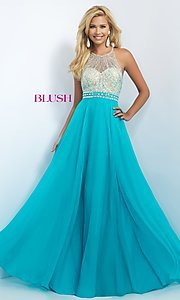 Image of beaded long open-back Blush prom dress Style: BL-11052 Front Image