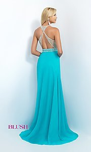 Image of beaded long open-back Blush prom dress Style: BL-11052 Back Image