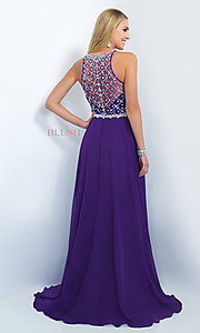 Image of long illusion-back beaded prom dress by Blush. Style: BL-11071 Back Image