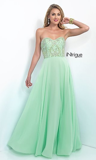 Long Mint Green Prom Dress from Intrigue by Blush