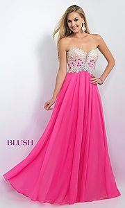 Long Blush Prom Dress With Beaded Bodice- PromGirl