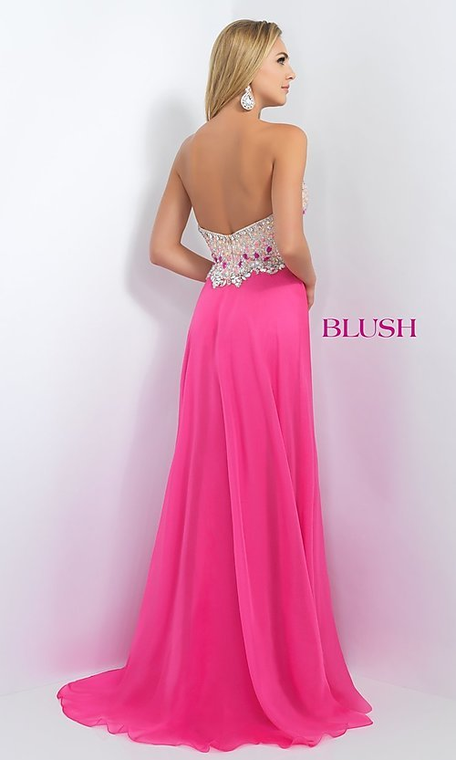 Image of Long Blush Prom Dress With Beaded Bodice Style: BL-11097 Back Image