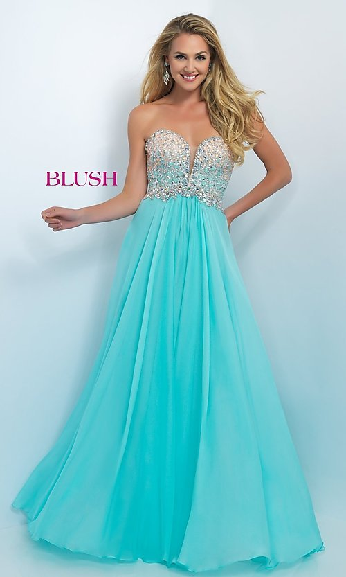 Image of Long Blush Prom Dress With Beaded Bodice Style: BL-11097 Detail Image 3
