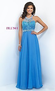 Open Back Long Blush Prom Dress BL-11059