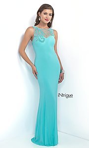 Intrigue by Blush Long Prom Dress with Beaded Back