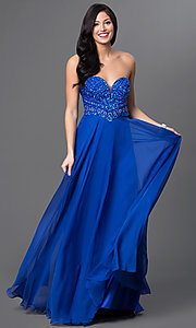 Royal Blue Strapless Sweetheart Prom Dress from Intrigue by Blush