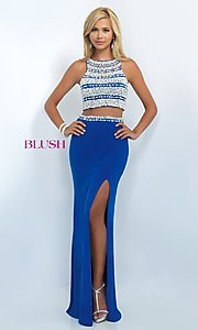 Image of glamorous two-piece Blush prom dress with slit. Style: BL-11065 Detail Image 1