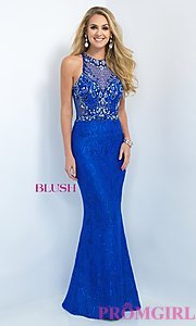 Image of floor length lace illusion back embellished bodice dress  Style: BL-11111 Detail Image 1