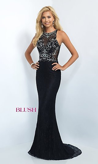 Lace Illusion Back Long Prom Dress-PromGirl