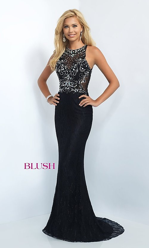 Image of floor length lace illusion back embellished bodice dress  Style: BL-11111 Front Image