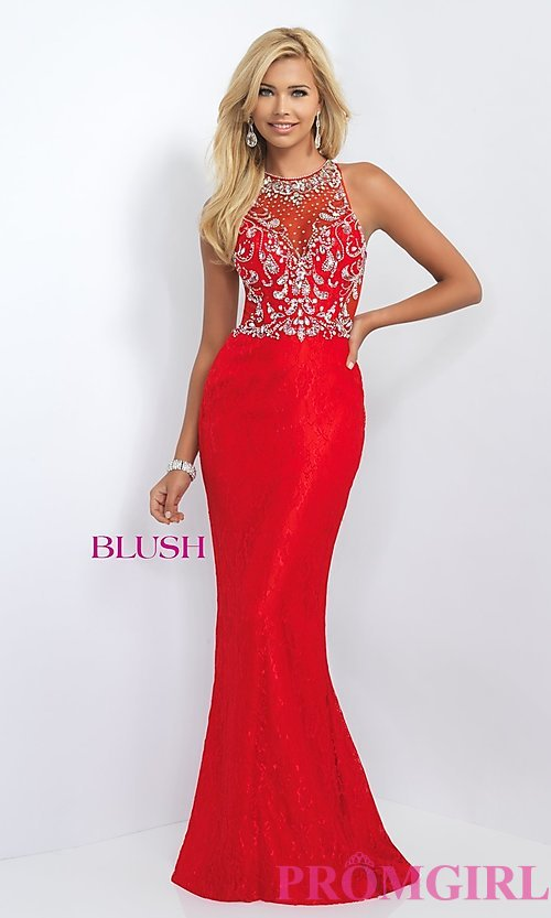 Image of floor length lace illusion back embellished bodice dress  Style: BL-11111 Detail Image 2