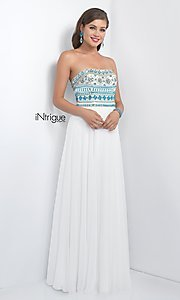 Image of iNtrigue by Blush long white prom dress with beads. Style: BL-IN-161 Front Image