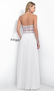 Image of iNtrigue by Blush long white prom dress with beads. Style: BL-IN-161 Back Image
