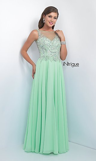 Mint Green Long Prom Dress from Intrigue by Blush