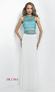 Long Two Piece Illusion Open Back Dress by Blush