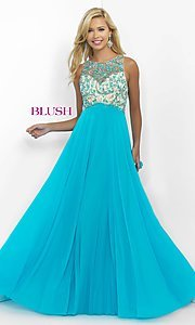 Beaded Illusion Long Blush Dress for Prom