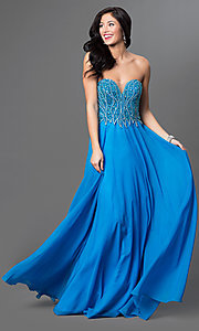 Long Blue Strapless Open Back Intrigue by Blush Prom Dress