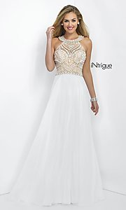 Long White Beaded Prom Dress from Intrigue by Blush