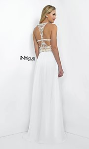 Image of long sleeveless high neck beaded white dress Style: BL-IN-130 Back Image