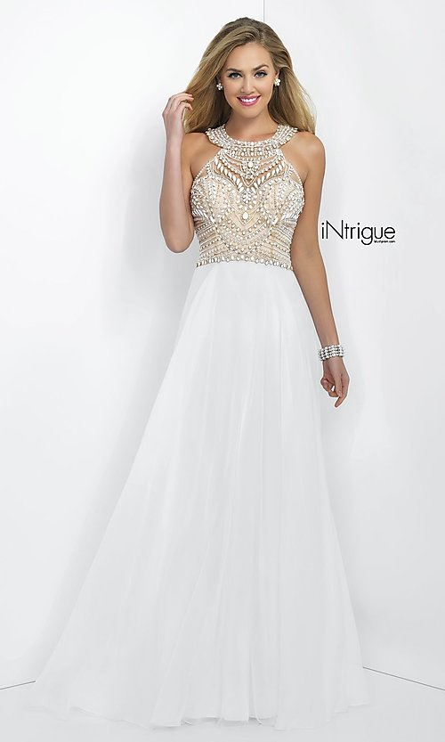 Image of long sleeveless high neck beaded white dress Style: BL-IN-130 Front Image