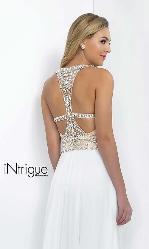 Image of long sleeveless high neck beaded white dress Style: BL-IN-130 Detail Image 1