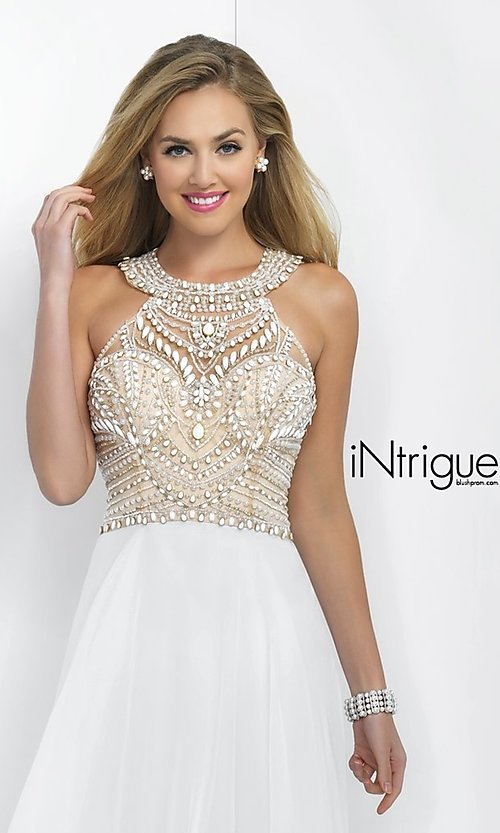 Image of long sleeveless high neck beaded white dress Style: BL-IN-130 Detail Image 2