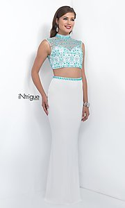 White and Turquoise Two Piece Prom Dress from Intrigue by Blush
