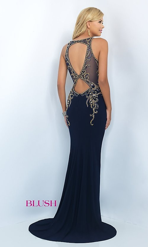 Image of Blush floor-length prom dress with embroidered beading. Style: BL-11038 Back Image