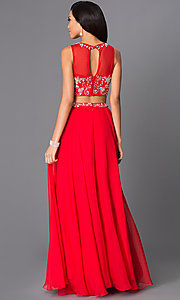 Image of two-piece long beaded high-neck gown 8152. Style: NA-8152 Back Image