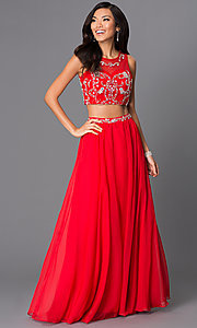 Image of two-piece long beaded high-neck gown 8152. Style: NA-8152 Front Image