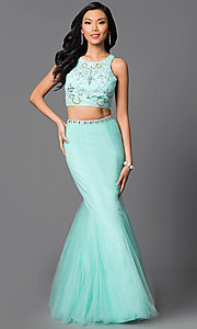 Image of two-piece long mermaid prom dress with beaded top. Style: NA-8156 Detail Image 2